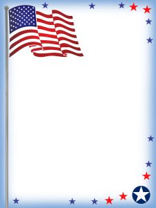 Printable USA flag themed notepaper