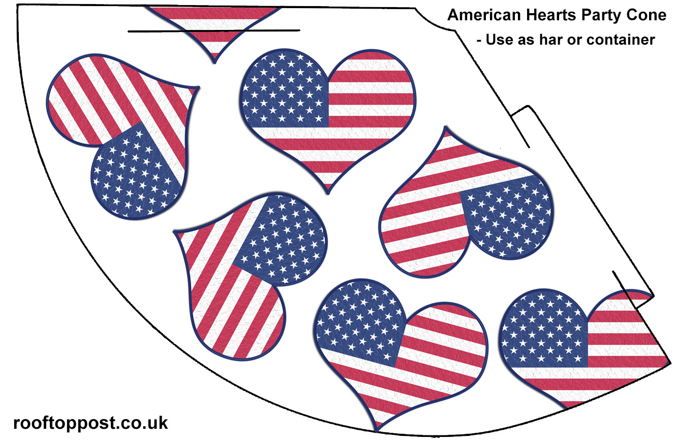 Free printable party cone featuring an American hearts design