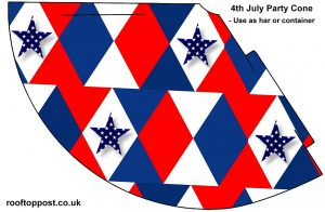 Free printable party cone featuring a red white and blue geometric design