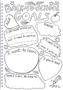 Printable goals sheet for kids to fill in for this school term, including what you want to learn, what you plan to read and who you plan to be kind to.