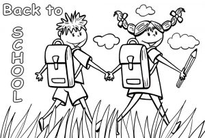 Printable colouring page of a boy and girl heading back to school