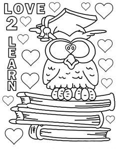 School colouring in page depicting an owl perched on some books