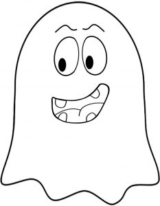 Printable Halloween decoration in the form of a bemused ghost which you can cut out and hang around your home.