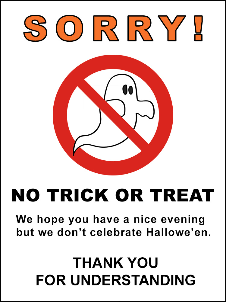 No Trick Or Treat Halloween Poster Rooftop Post Printables