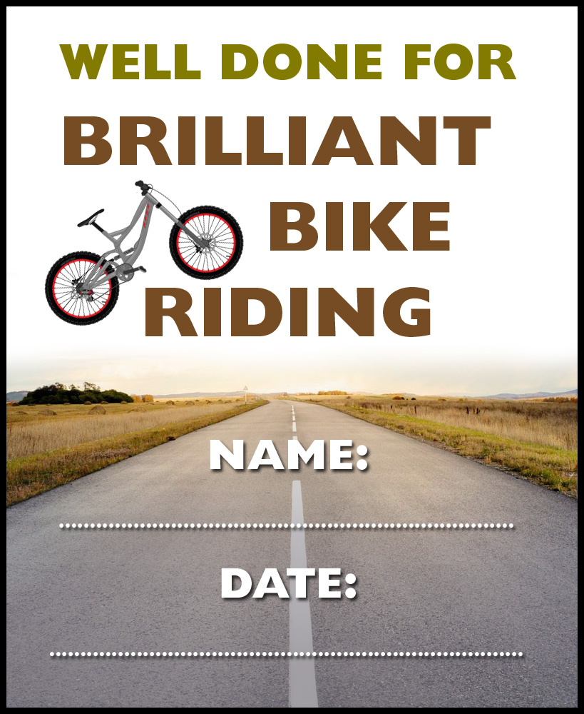 Kids printable bike riding certificate, saying well done