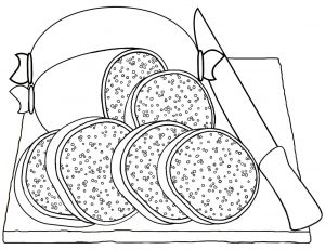 Picture of a Scottish haggis to print and colour in.
