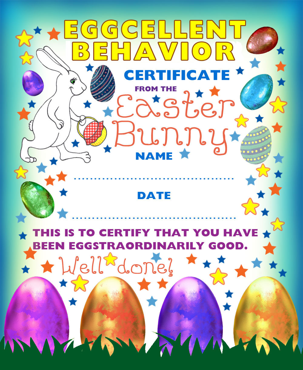 American version of our printable Easter Bunny Certificate for eggcellent behavior - contains US spelling