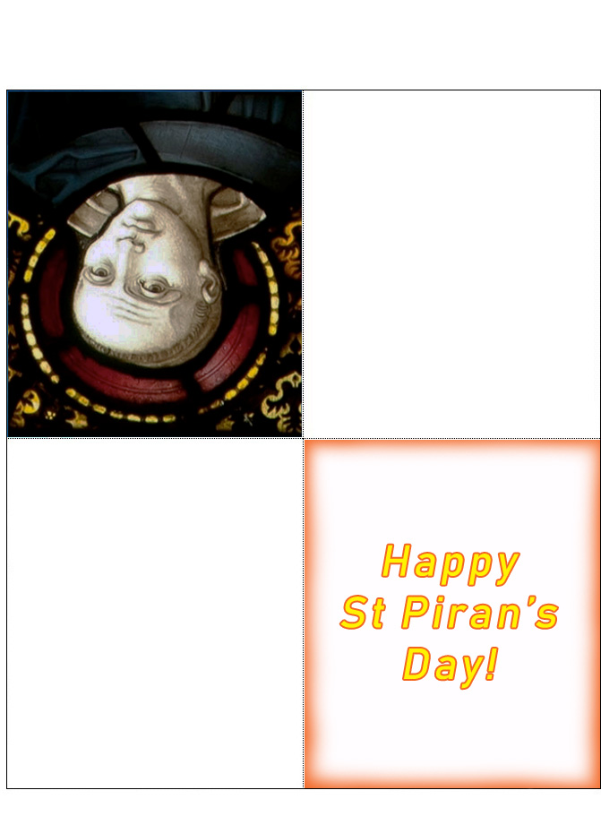 Printable four fold card for St Piran's Day