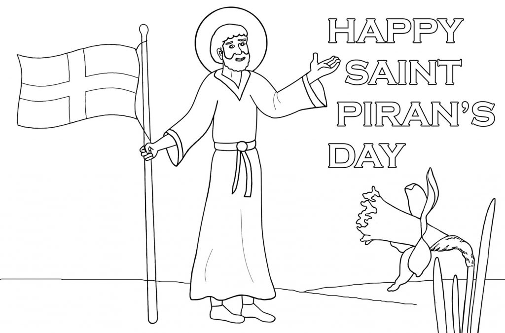 Kids colouring of Saint Piran