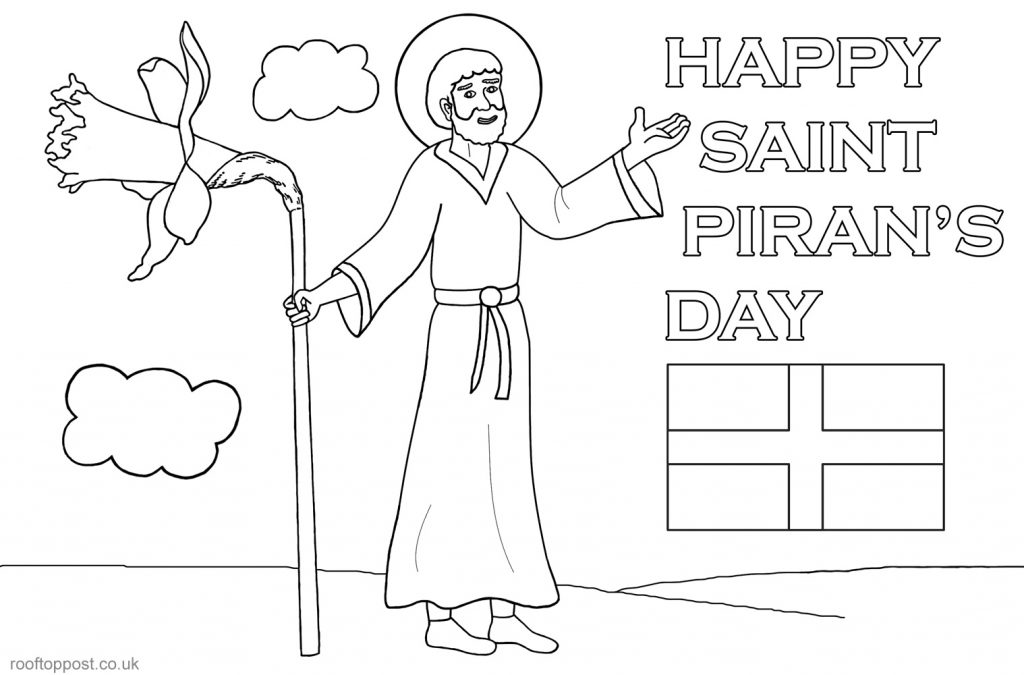 Printable colouring page for St Piran's Day