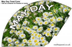 A printable cone to put edible treats or flowers in on May Day, with a daisy theme.