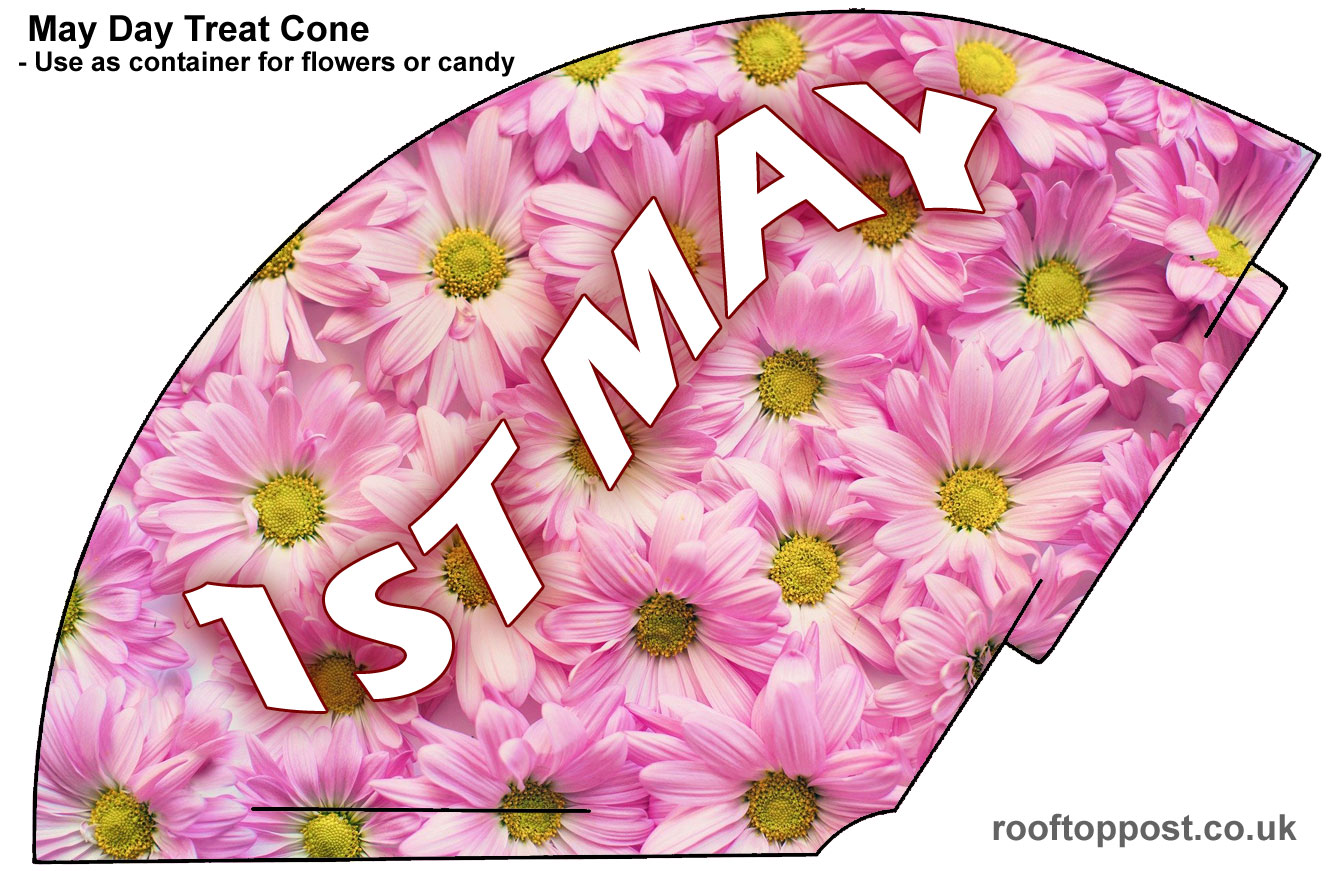 A printable party cone for May Day celebrations with a pink daisy theme