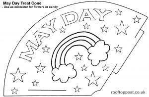 A template for making a May Day treat cone, just print, cut out and colour in.