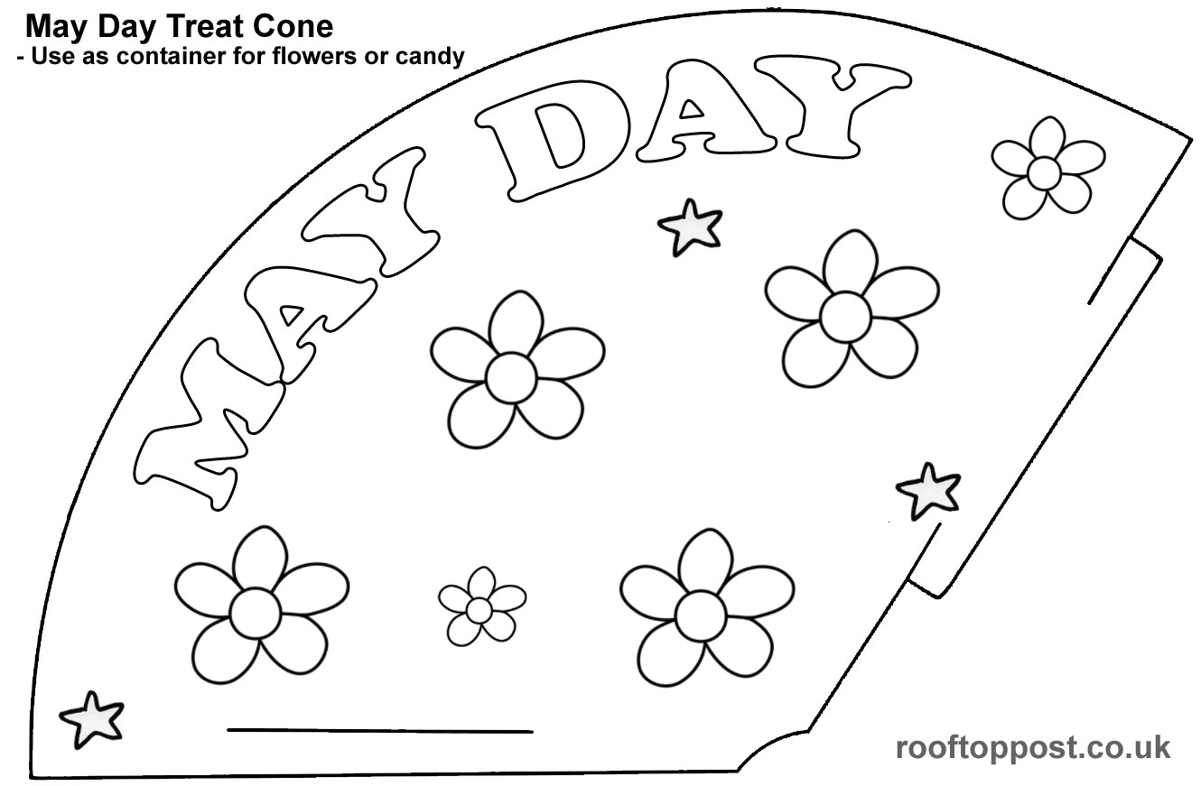 A flowery treat cone template foe May Day celebrations. Print for children to colour in.