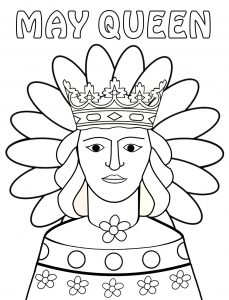 Printable colouring page of a May Queen