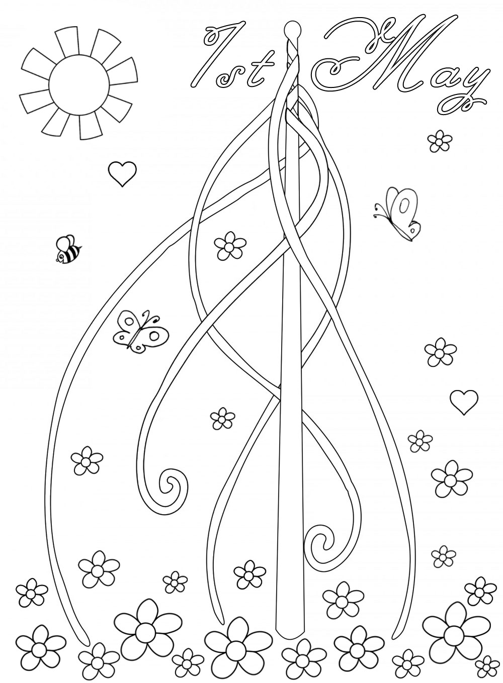 Picture of a maypole for children to colour in.