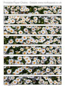 Printable paper chain with a daisy design