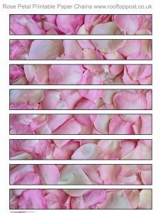 Printable paper chain strips to decorate for spring festivals - these ones depict pink rose petals