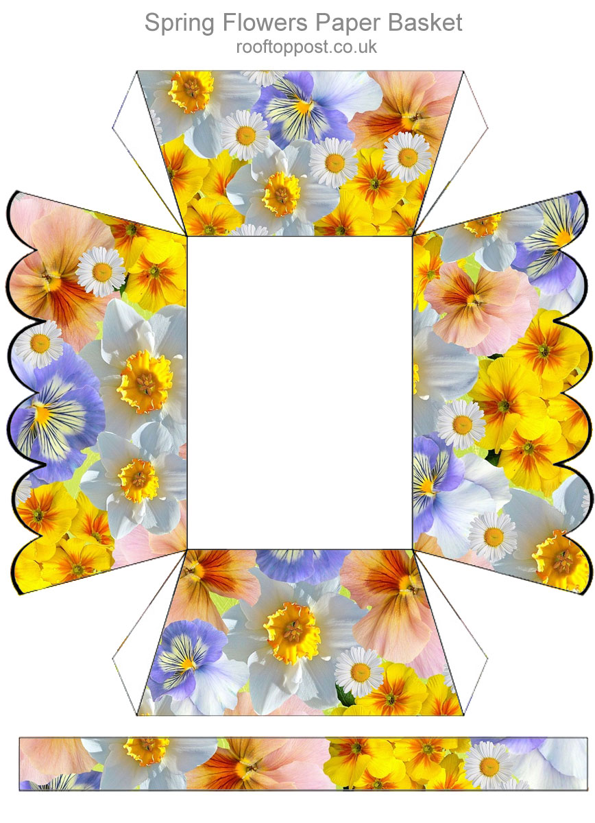 A printable basket or tray for treats, with a spring flowers design