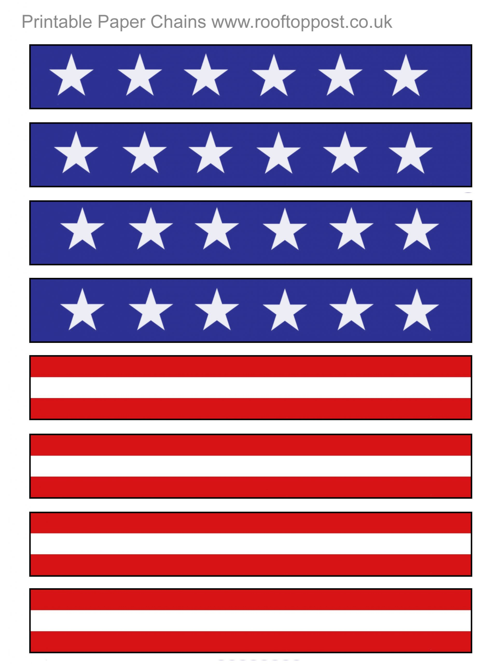 Printable paper chains with a US flag stars and stripes design. Useful for Independence Day and the 4th of July