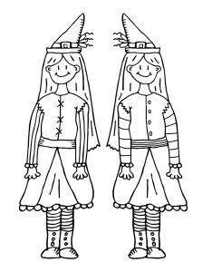 Printable colouring page for children of two witches who are also sisters