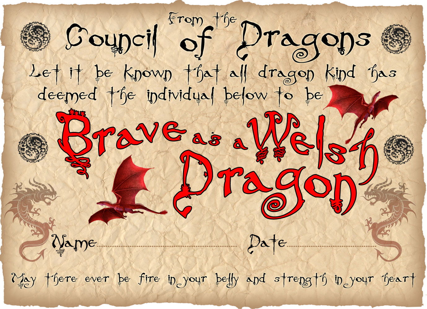 This is a printable certificate for children, saying that they are as brave as a Welsh dragon. Useful for St David's Day or any other Welsh celebration.