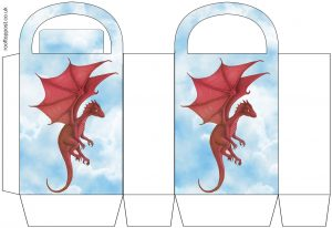 Printable party bag of the Welsh red dragon