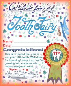 Tooth Fairy certificate to print for a child who has lost his or her 11th tooth.