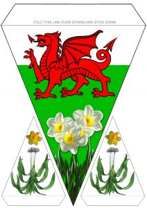 Printable bunting to decorate for St David's Day, picturing the Welsh dragon, leeks and daffodils.
