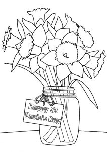 Printable colouring page for St David's Day picturing daffodils in a vase.