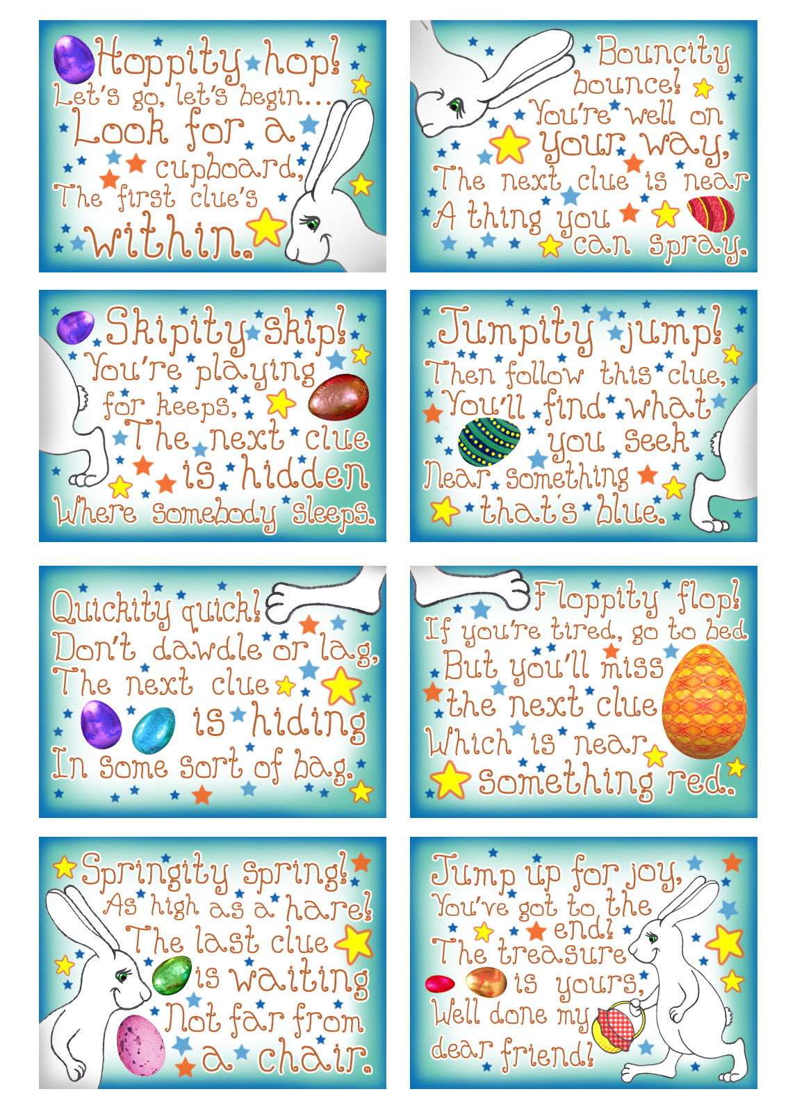 Printable clues from the Easter Bunny for a children's treasure hunt game. Useful for Easter egg hunts indoors.