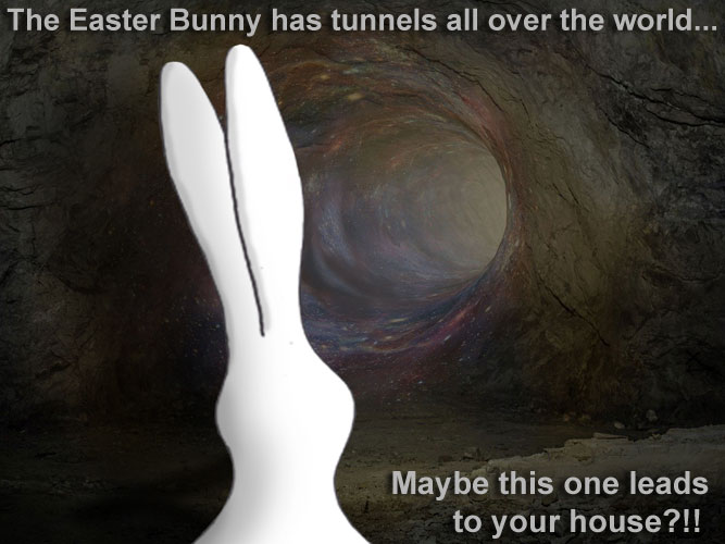 A picture of the Easter Bunny in her magical network of underground tunnels