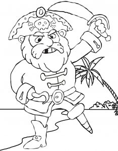 Printable colouring in page of an angry pirate with a wooden leg and a hook, standing on a beach.