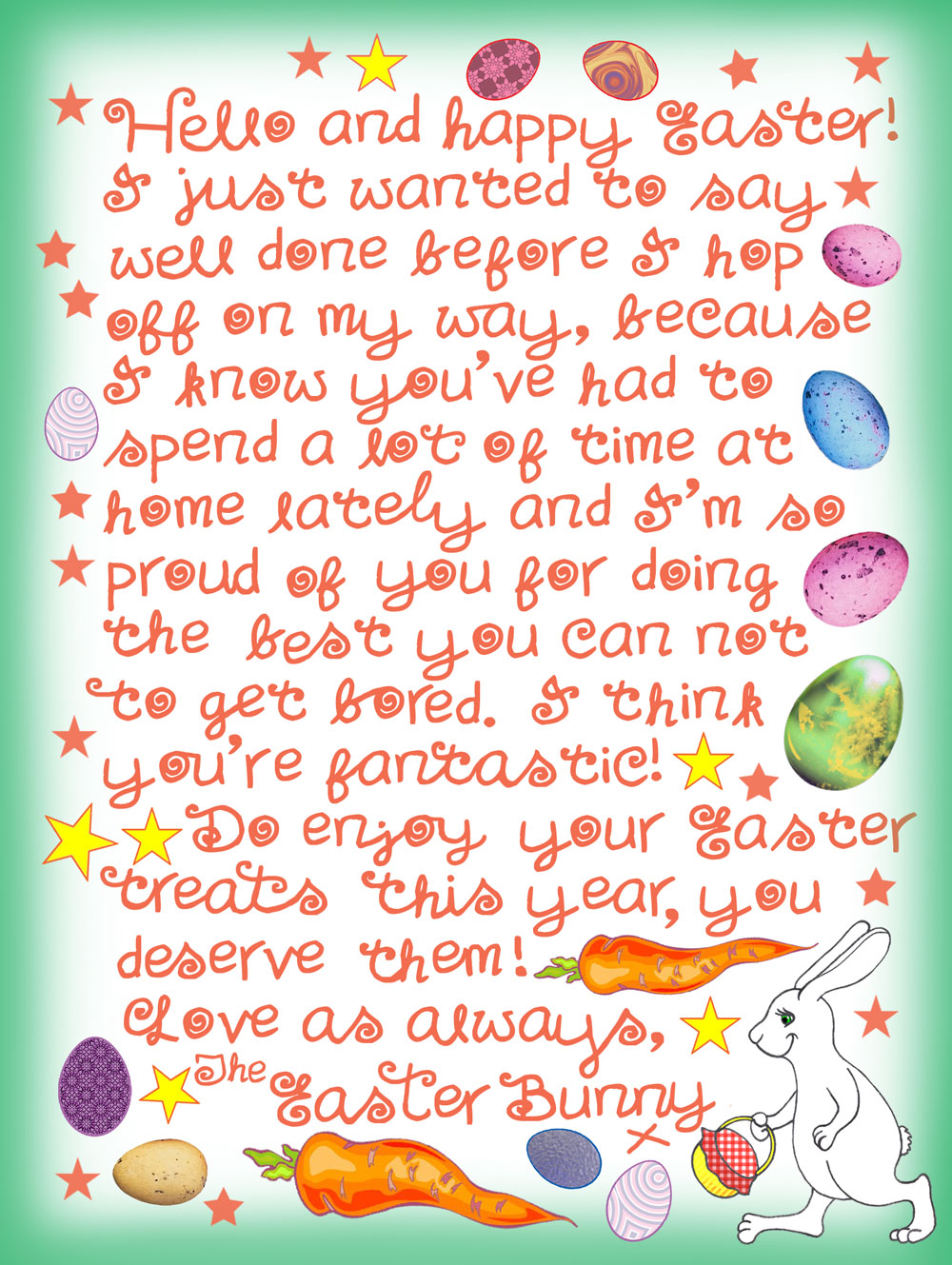 This is a free, handwritten note from the Easter Bunny saying well done to a child for staying inside. It's useful in light of the coronavirus pandemic.