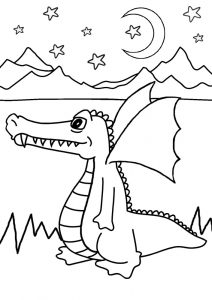 Printable kids colouring page of a long-nosed dragon.
