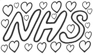 A poster to colour in depicting the NHS surrounded by hearts. The idea is to put it in your window to show your love for the NHS