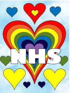 A poster celebrating the work of the NHS with a hearts and rainbow theme.