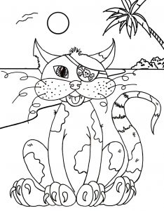 Printable colouring page of a pirate cat sitting on a beach.