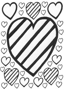 Printable kids colouring page of rainbow hearts