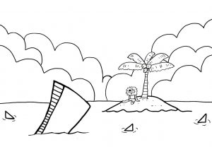 This is a kids colouring page of a shipwrecked pirate in shark-infested waters.