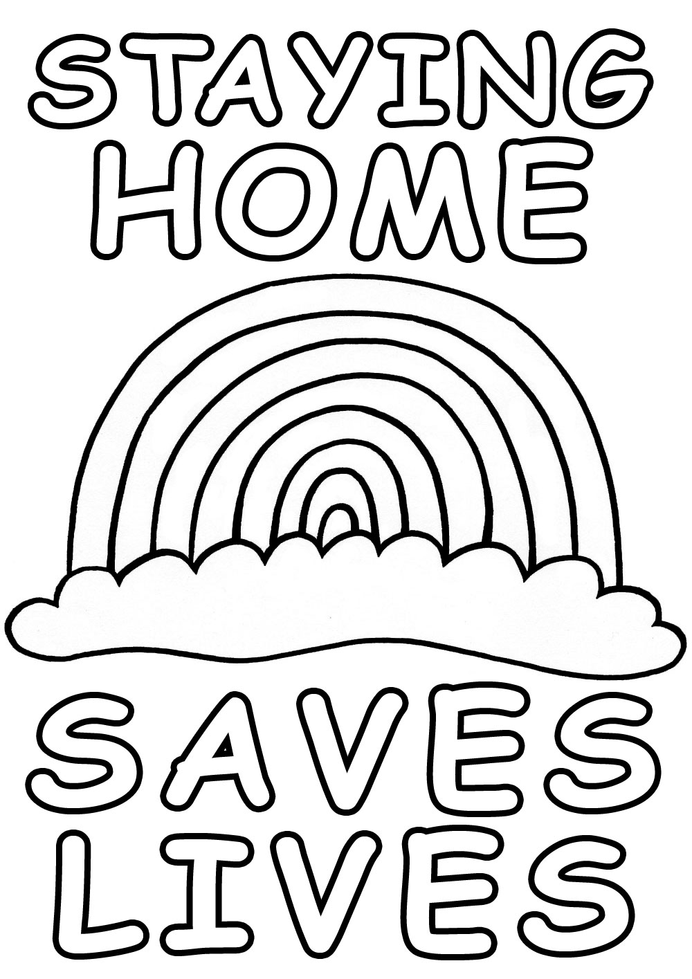A kids colouring poster dessigned with the COVID19 crisis in mind. It depicts a rainbow and the words: staying home saves lives.