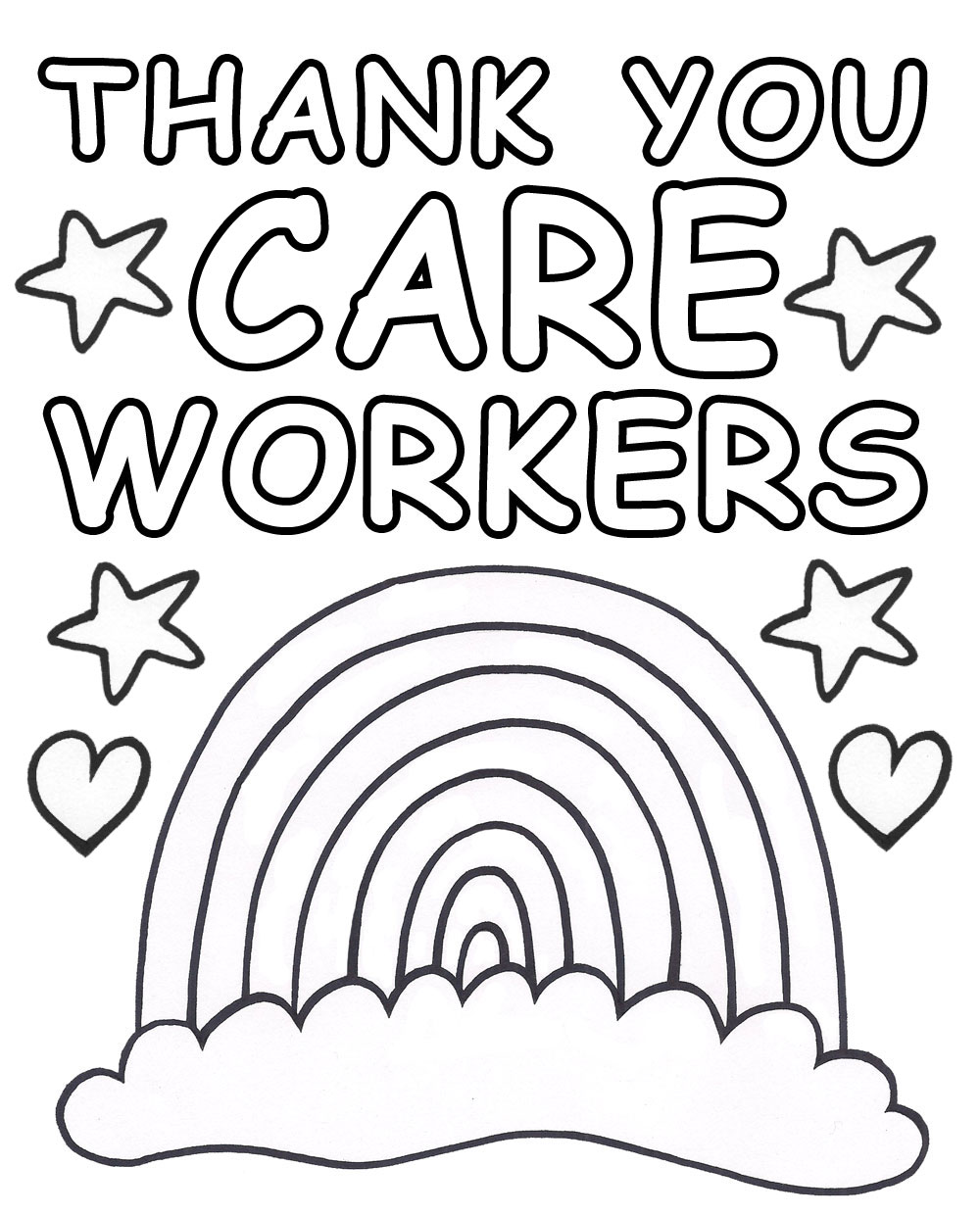This is a poster for children to colour in to say thank you to care workers