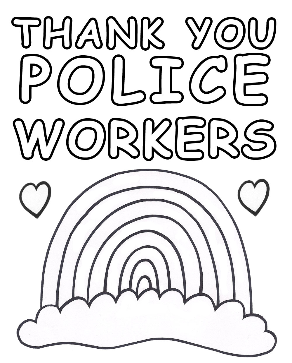 A printable poster for kids to colour in to say thank you to those who work for the police