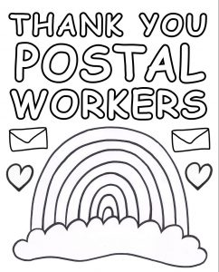 A printable rainbow poster for children to colour in and display in their windows to say thanks to postal workers