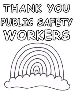 A printable rainbow poster for children to colour in and put in their windows to thank public safety workers