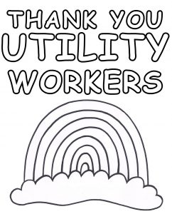 A printable poster for children to colour in to say thank you to utility workers