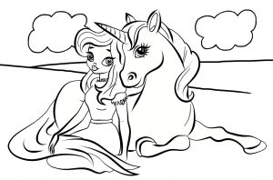 A kids colouring page of a princess and a unicorn