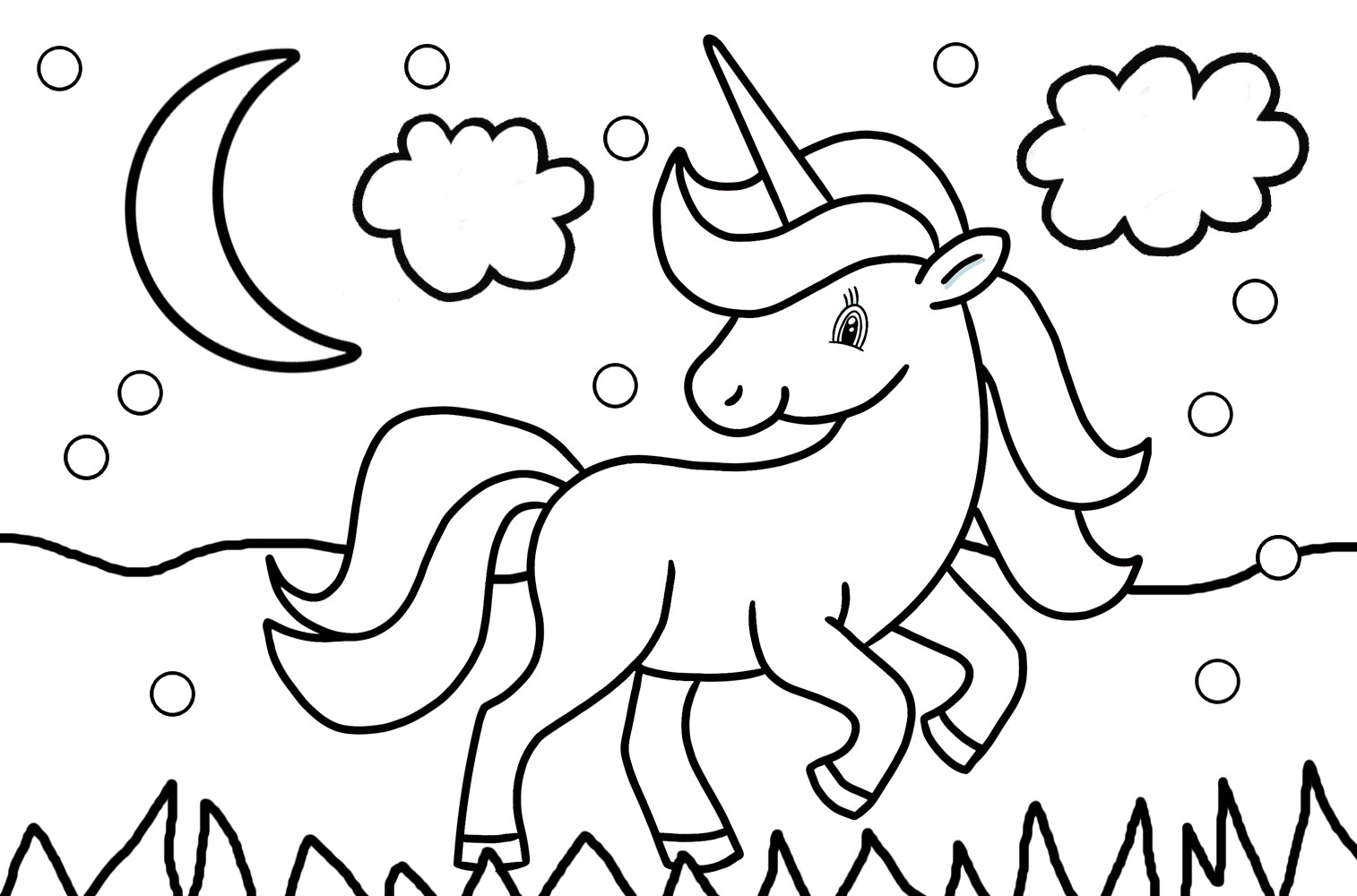 Simple colouring page to print for a young child, depicting a unicorn in the snow