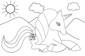 A kids colouring page of a unicorn sitting in the sunshine