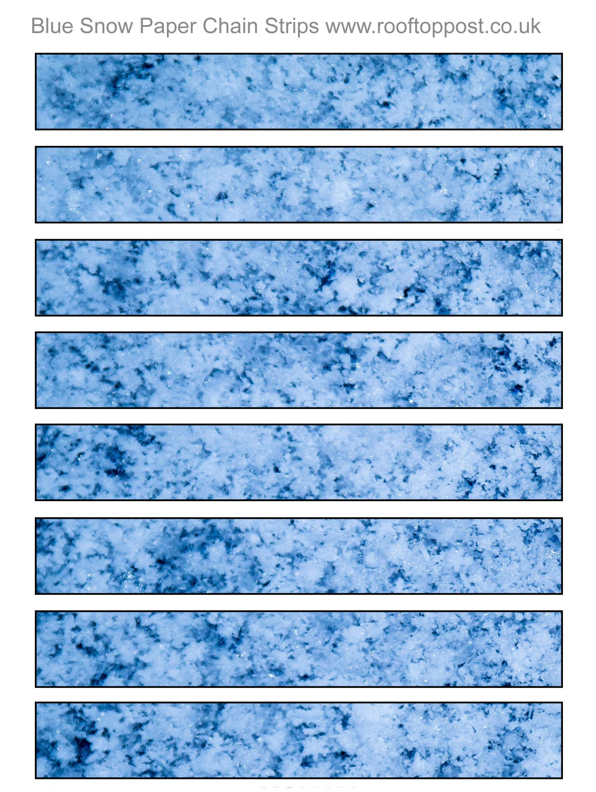 Printable paper chain strips with a blue snow design